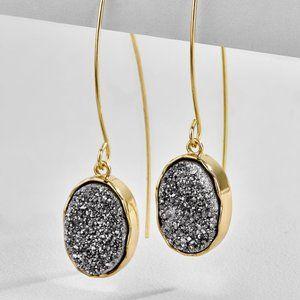BaubleBar Gold & Gray Drop Earrings